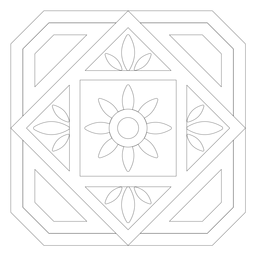 Mosaic square circle flower petal frame line