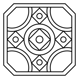 Traçado de círculo quadrado do mosaico