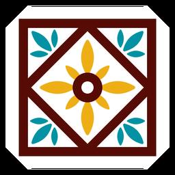 Flor de pétala de moldura quadrada de mosaico plana