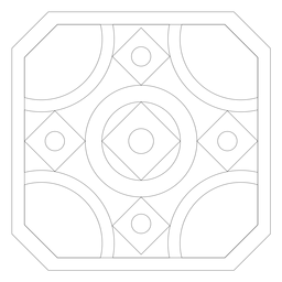 Mosaico cuadrado rombo círculo línea