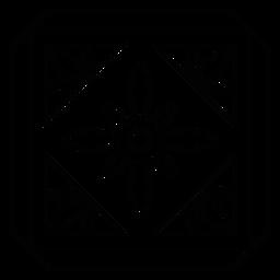 Linha de quadro de pétala de flor rhomb mosaico quadrado