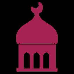 Mezquita, cúpula, torre, media luna, silueta detallada
