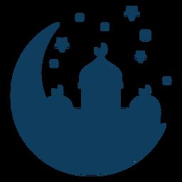 Silhueta de estrela crescente da torre cúpula de Mesquita