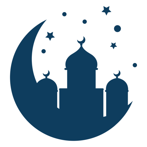 Mosque dome tower crescent star silhouette