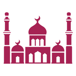 Mezquita torre cúpula creciente silueta detallada