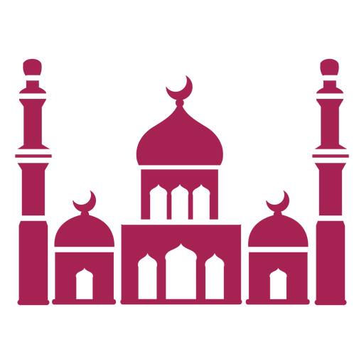 Mosque tower dome crescent detailed silhouette Transparent PNG