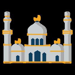 Mesquita torre cúpula crescente plana