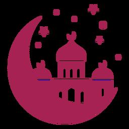 Mesquita torre cúpula estrela crescente silhueta detalhada