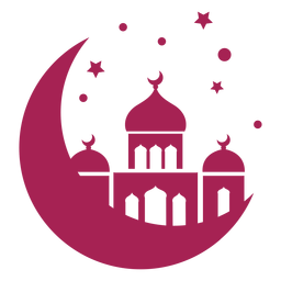 Mezquita torre cúpula creciente estrella detallada silueta