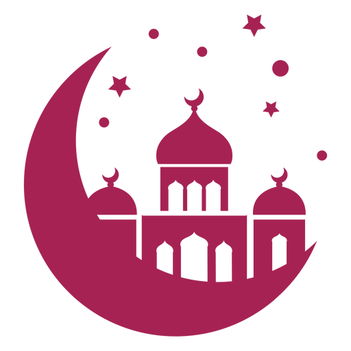 Mosque tower dome crescent star detailed silhouette