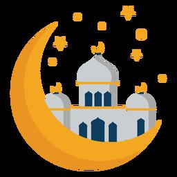 Mesquita torre cúpula crescente estrela plana