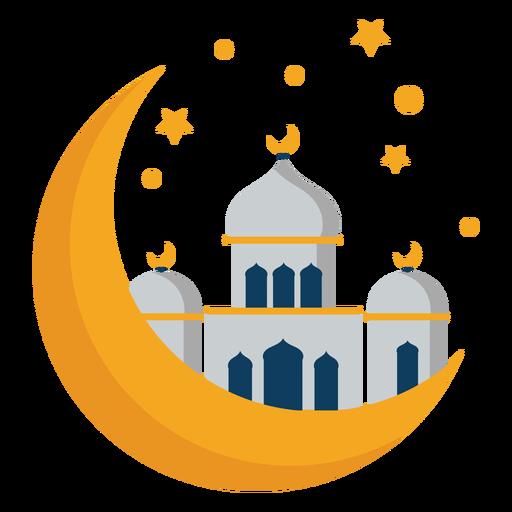 Mesquita torre cúpula crescente estrela plana Transparent PNG