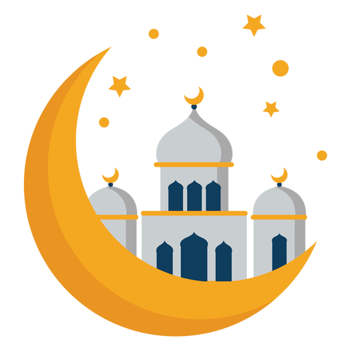 Mosque tower dome crescent star flat