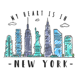 Etiqueta engomada del horizonte de nueva york