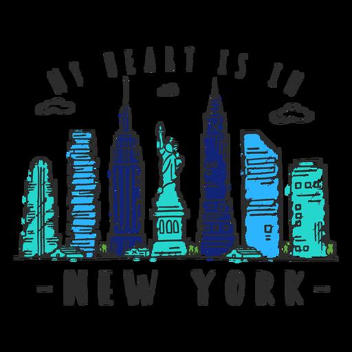 New york skyline sticker Transparent PNG