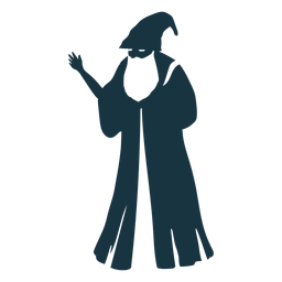 Old man sorcerer wizard cap robe beard detailed silhouette