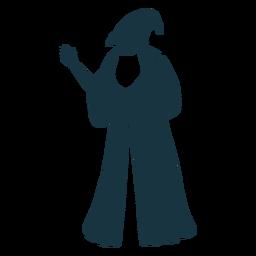 Velho, homem, feiticeiro, feiticeiro, boné, robe, barba, detalhado, silueta