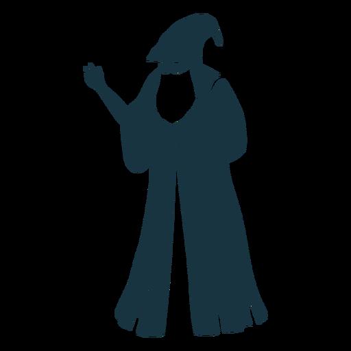 Old man sorcerer wizard cap robe beard detailed silhouette