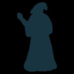 Zaubererzaubererkappen-Roben-Bartschattenbild des alten Mannes