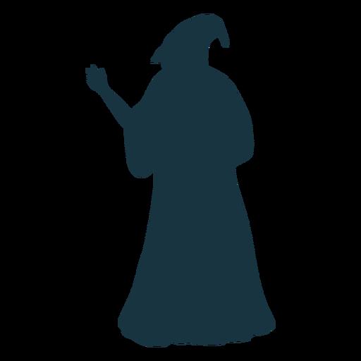 Old man sorcerer wizard cap robe beard silhouette