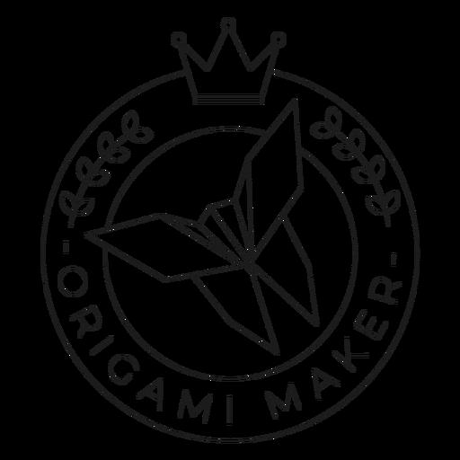 Origami maker paper crown badge line Transparent PNG