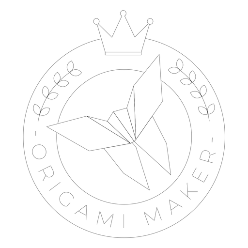 Origami maker paper crown badge line