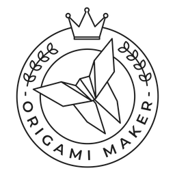 Fabricante de origami papel corona insignia trazo