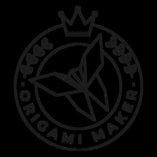 Origami maker paper crown badge stroke