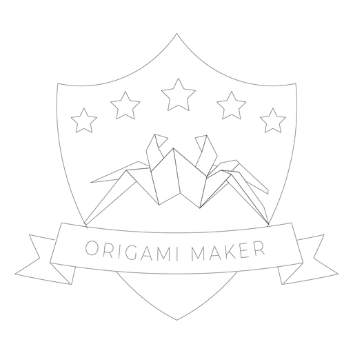 Origami maker spider star paper badge line Transparent PNG