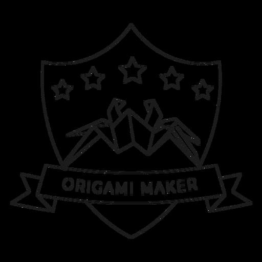 Origami maker spider star paper badge line