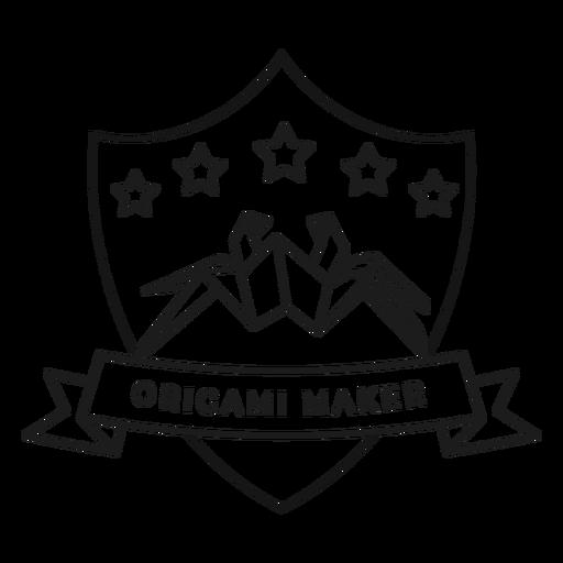 Origami maker spider star paper badge stroke