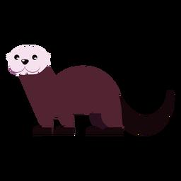 Cauda de focinho de pele de lontra arredondada plana
