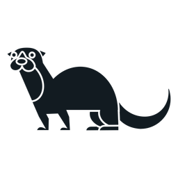 Otter muzzle tail fur detailed silhouette