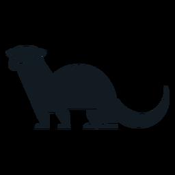 Silhueta detalhada da pele da cauda da cauda da lontra