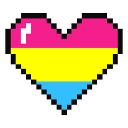 Pansexual heart stripe pixel flat