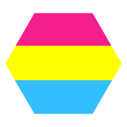 Pansexual hexagon stripe flat