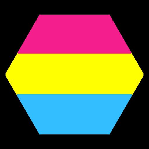 Pansexual hexagon stripe flat Transparent PNG