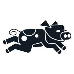 Casca de orelha de porco silhueta detalhada do focinho de cauda