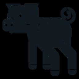 Silhueta detalhada da orelha da cauda do snout do casco do porco