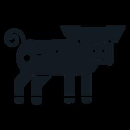 Silueta detallada del oído del hocico del casco de la cola del cerdo