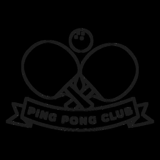 Trazo de insignia de raqueta de pelota de tenis de club de ping pong