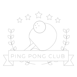 Ping pong club tennis ball racket star branch badge line