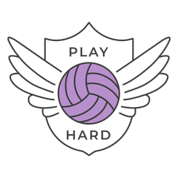 Play hard ball wing colored badge sticker