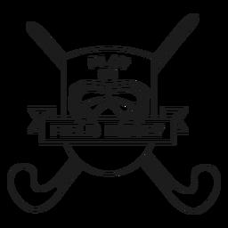 Jugar en el campo de hockey palo palo insignia insignia trazo