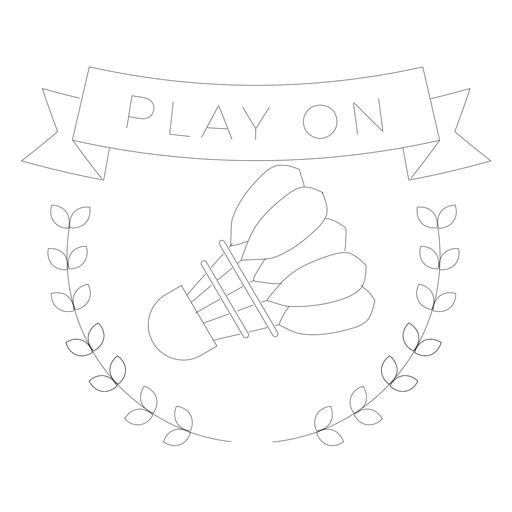 Play on shuttlecock branch badge line Transparent PNG