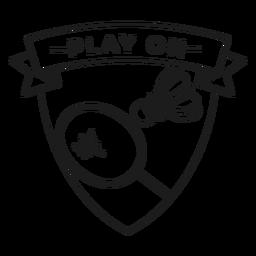 Jugar en el golpe de la insignia de la raqueta del volante