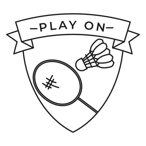 Play on shuttlecock racket badge stroke Transparent PNG