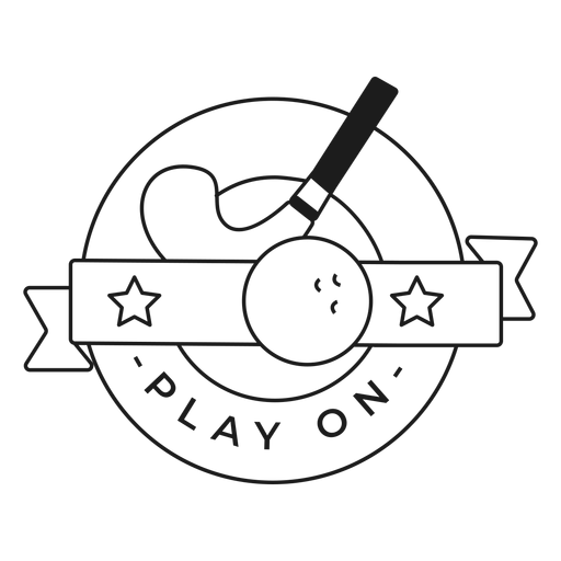 Play on stick ball badge stroke Transparent PNG