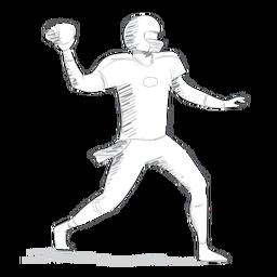 Jugador pelota casco traje croquis