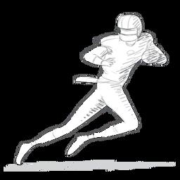 Esboço de equipamento de capacete executando bola de jogador